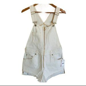 Free People distressed denim overalls off white 4